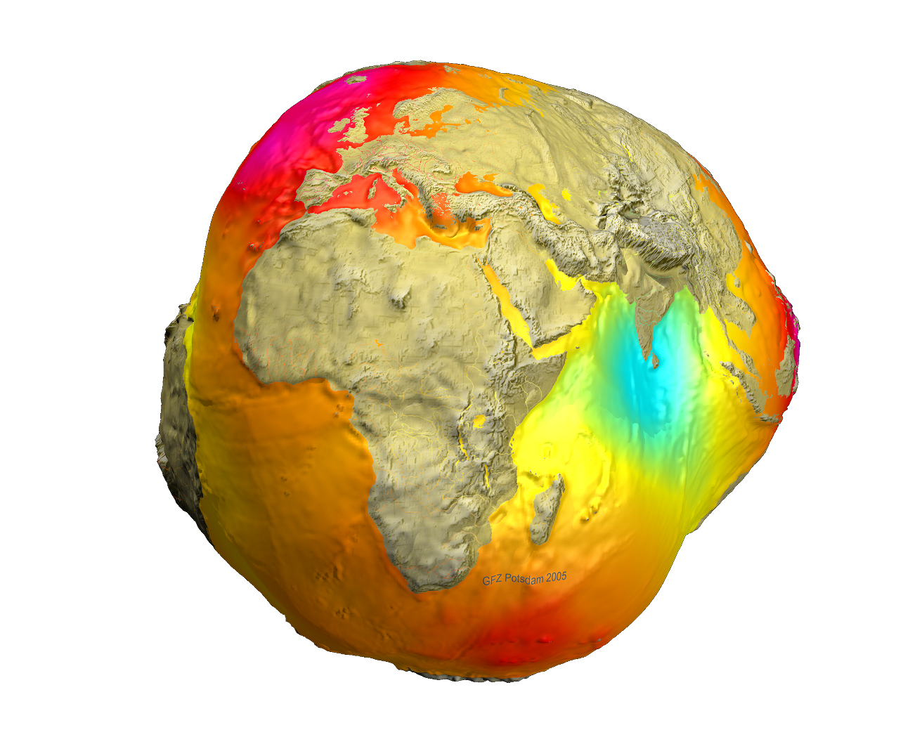 The shape of the Earth is close to an ellipsoid. But the exact shape is the geoid, which differs by approx. ± 100 m from the reference ellipsoid. Image: GFZ Potsdam